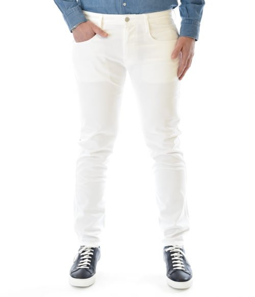 REPLAY JEANS UOMO BIANCO DENIM STRETCH ANBASS